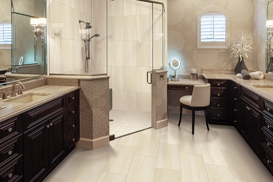 Family friendly bathroom tile floors in Nixa MO from Stoneridge Flooring Design