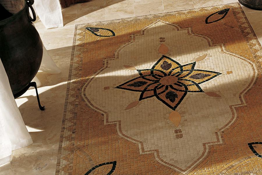 Custom mosaic floor installation in Aventura, FL from Extreme Surfaces Design Center