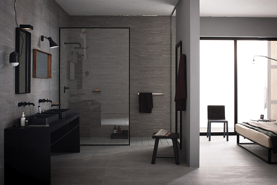 Custom stone bathroom in Corona CA from Compare Carpets & Hardfloors