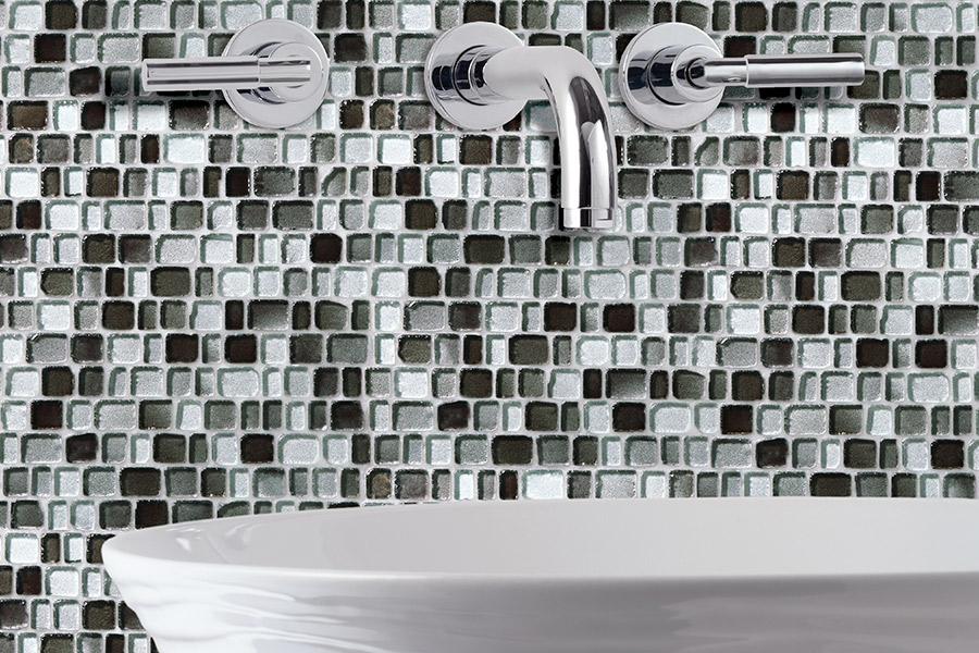 Custom glass tile mosaic backsplash in Jensen Beach, FL from Carpets Etc