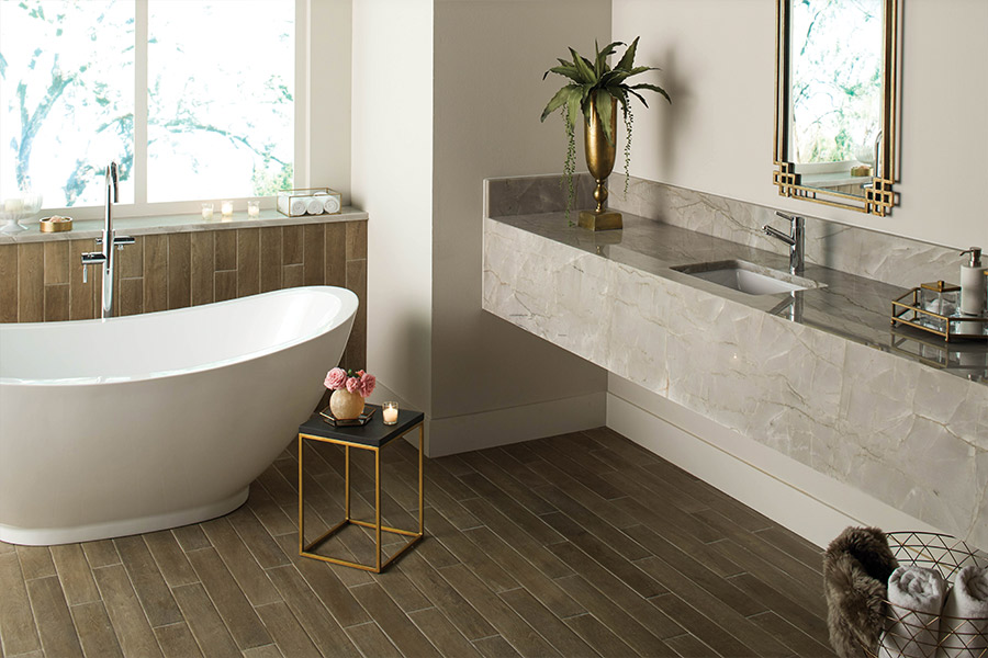 Wood look tile flooring in Ponte Vedra Beach, FL from Dimensions In Tile & Stone