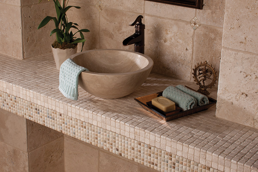 Custom natural stone bathroom remodeling in Highland UT from Halifax Flooring