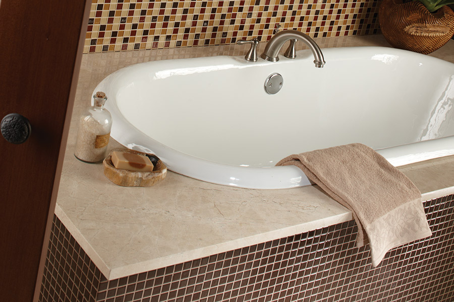 Glass tile bathtub surround in Canyon, TX from Carpet World Amarillo