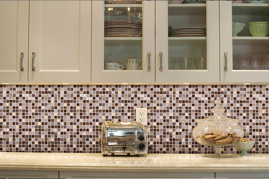 Custom glass tile mosaic backsplash in Santa Barbara, CA from Chisum's Floor Covering