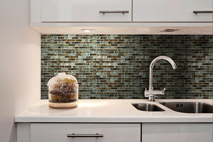 Glass tile backsplash installation in Austin, TX from Dollar Tile