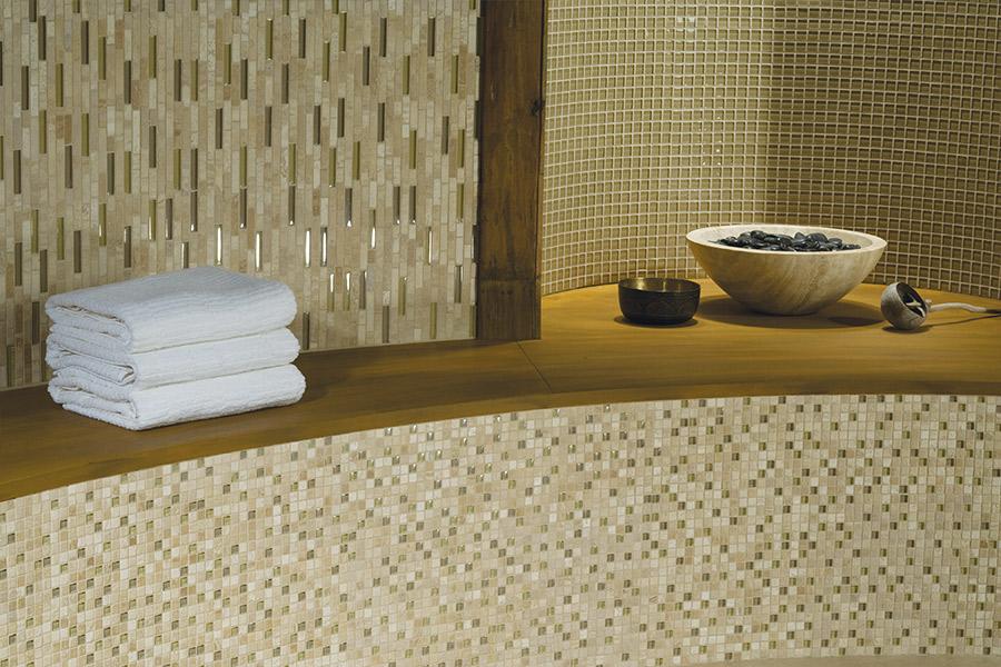 Glass tile bathtub surround in Bolivar, TN from First Class Flooring