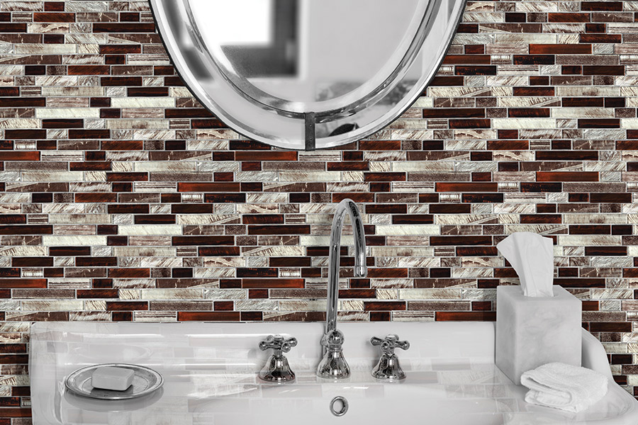 Glass tile backsplash installation in Round Rock, TX from Dollar Tile