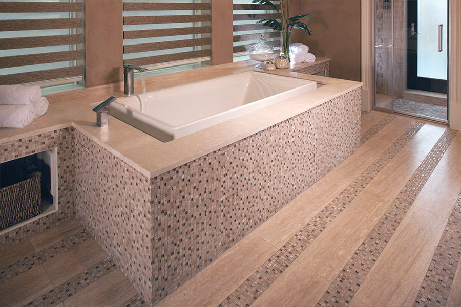 Glass tile bathtub surround in Crab Orchard, TN from Crossville Flooring Center