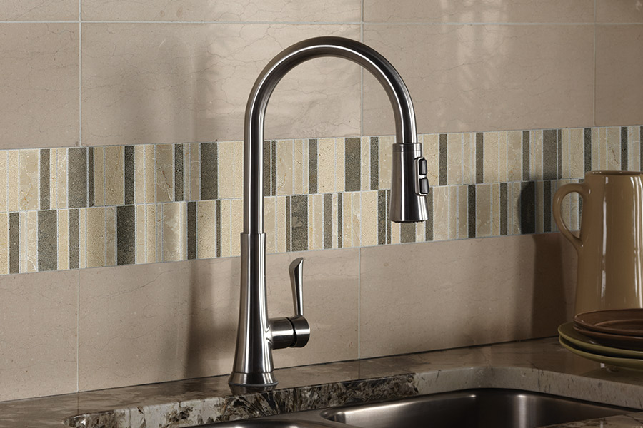 Custom tile backsplash in St Paul, MO from Hometown Floors Online