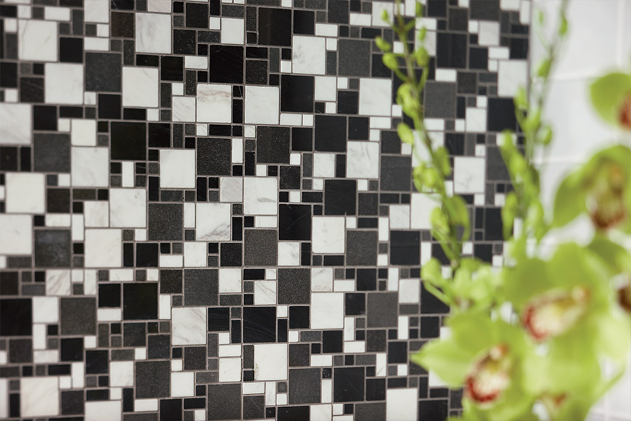 Custom glass tile mosaic backsplash in