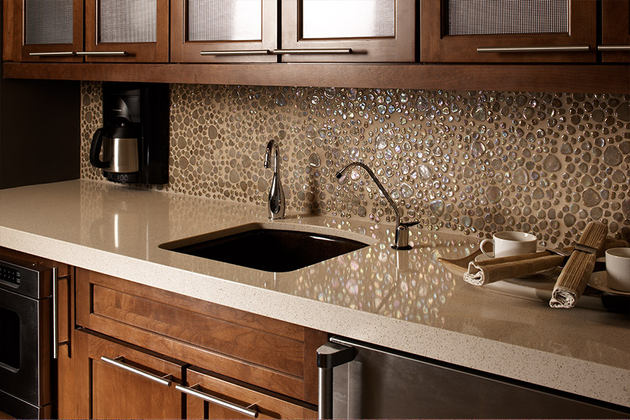 Custom glass tile mosaic backsplash in Fort Worth, TX from Texas Designer Flooring