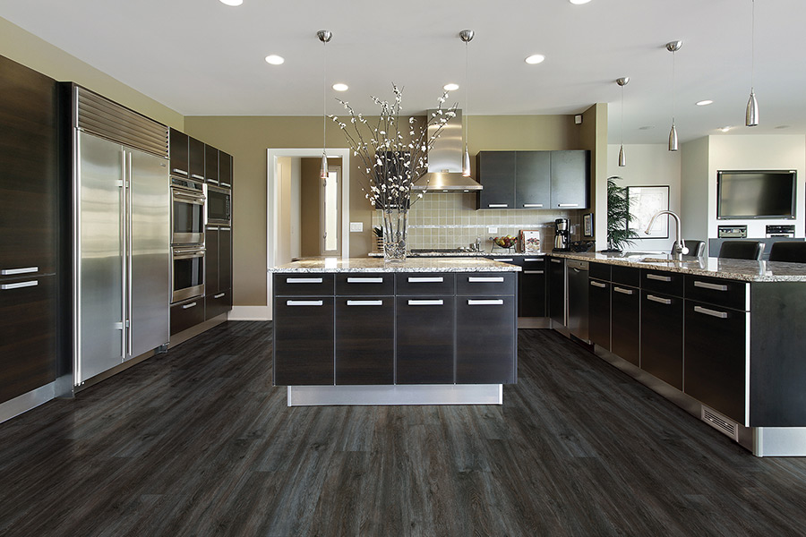 Waterproof luxury vinyl plank kitchen flooring in Lexington TN from First Class Flooring