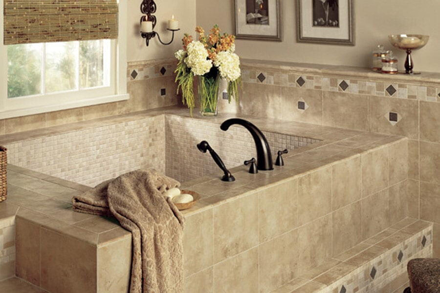 Glass tile bathtub surround in Sydney, NS from Moulding & Millwork