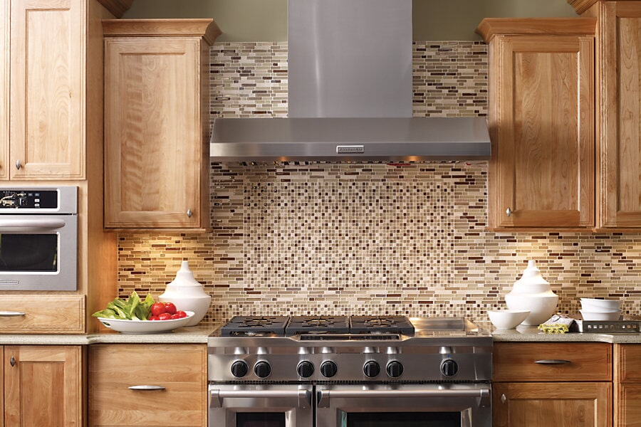 Custom glass tile mosaic backsplash in Sydney River, NS from Moulding & Millwork