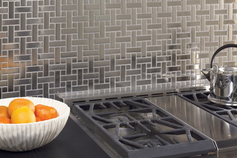 Modern metal tile kitchen backsplash in Jackson TN from First Class Flooring