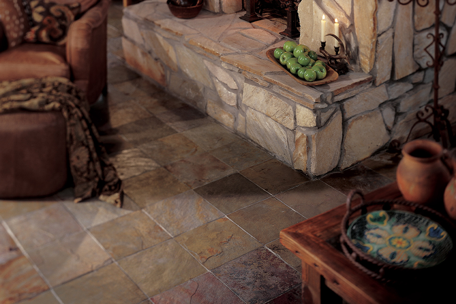 Natural stone flooring in a West Fargo, ND home