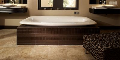 A refined bathroom from Haus of Floor Decor in Big Bear Lake, CA