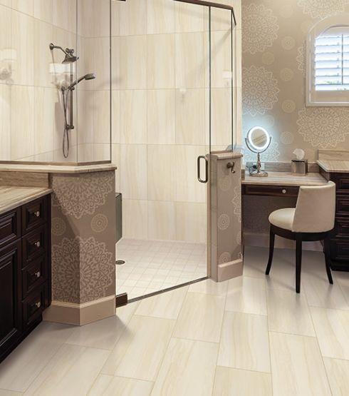 Luxury bathroom tile floors in Pleasant View TN from Guthrie Flooring