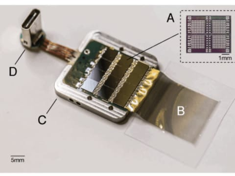 The chip that Elon Musk would like to implant in the human brain for the brain-machine interface. (Credit: Neuralink)