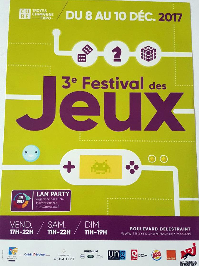 Festival des jeux les 8-9-10 Décembre 2017 Troyes Expo Cube