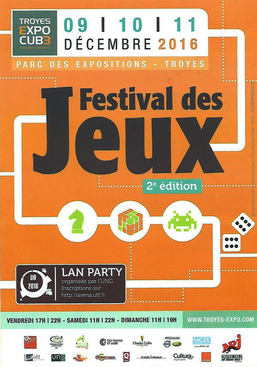 Festival des jeux les 9-10-11 Décembre 2016 Troyes Expo Cube