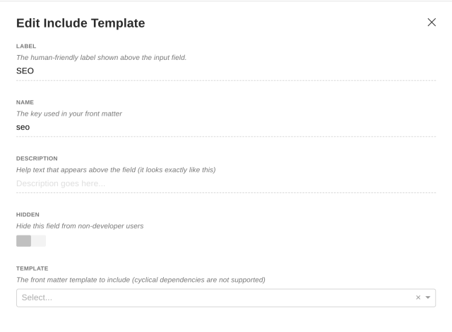 Include template interface