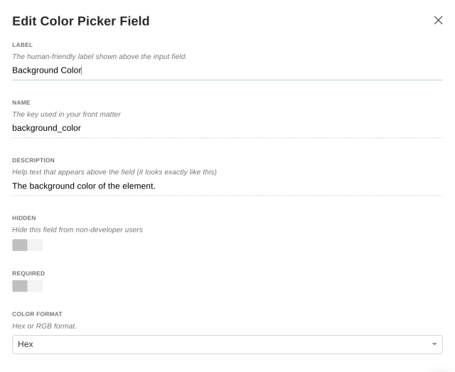 Color picker field options