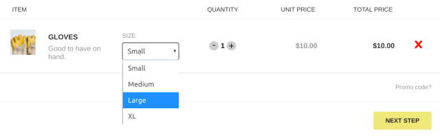 Example of product in cart with custom option