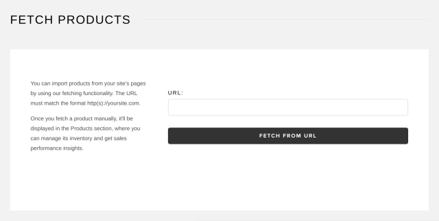 Snipcart's Fetch Products interface