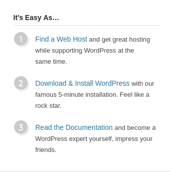 WordPress' recommended steps to get started