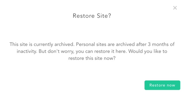 Restore archived site dialog