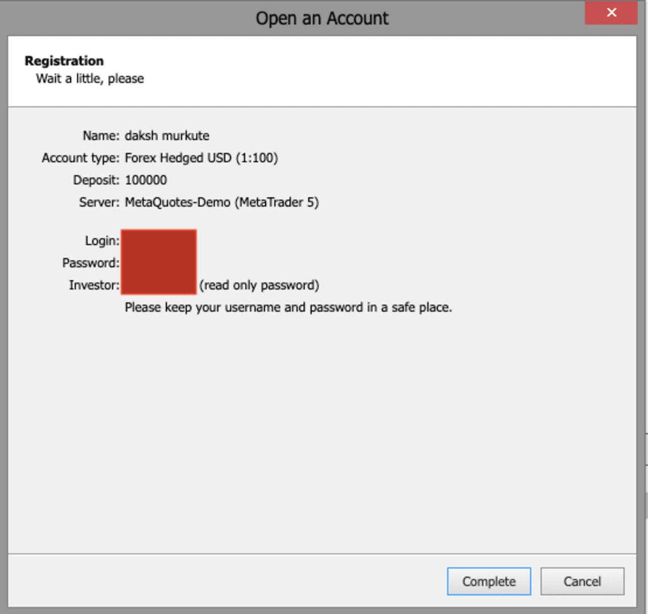 user id and password of practice demo account