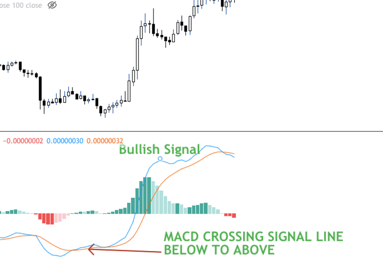 MACDline and the signal line crossover plus the histogram
