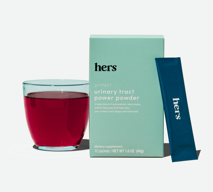 ut powder product package, individual product and glass of cranberry juice