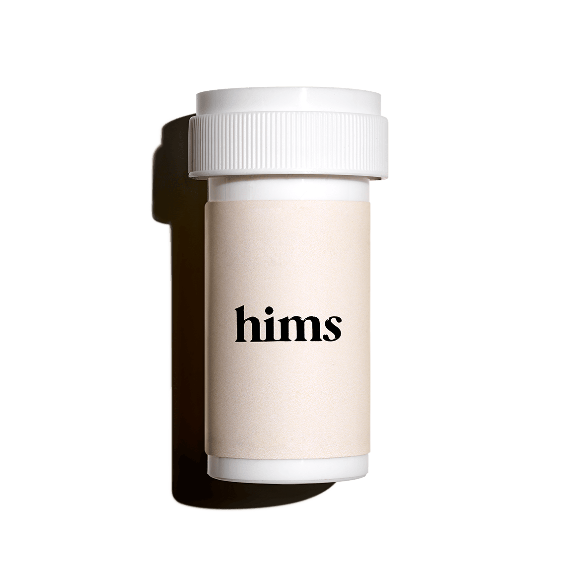 A medication bottle with 'hims' on the label