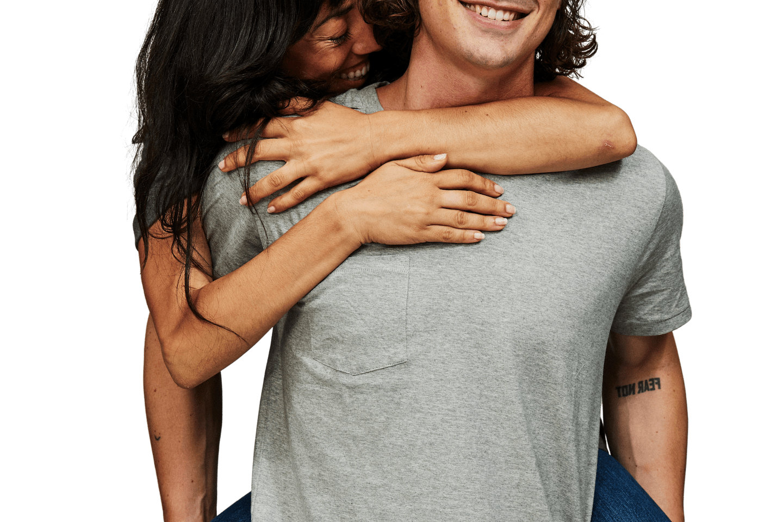 Couple piggyback