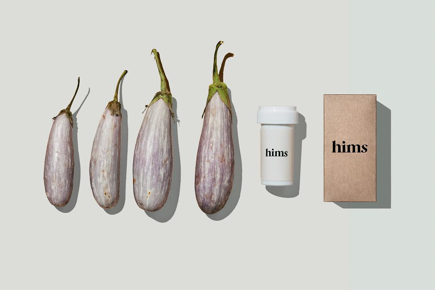 A series of eggplants accompanied by Hims ED medication.
