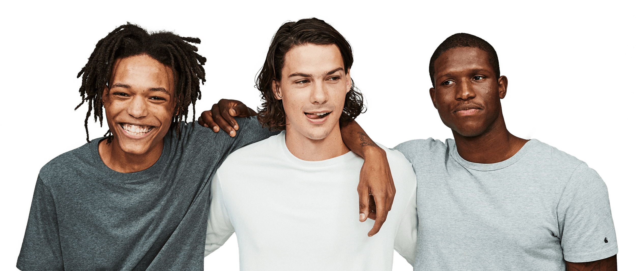 three men arms around each other