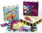 Stairs 5. Game box. Spill og øv engelsk! 2 spillbrett. 10 spillbrikker. 2 terninger. 100 spørsmålskort. 52 bokstavkort. 2 hefter med spilleregler