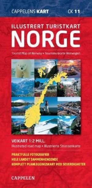 Illustrert turistkart Norge = Tourist map of Norway : illustrated road map = Tourismuskarte Norwegen : illustrierte Strassenkarte