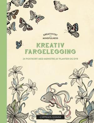 Kreativ fargelegging. 24 postkort med mønstre av planter og dyr. Kreativitet og mindfullness