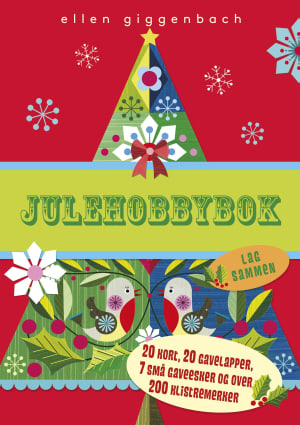 Julehobbybok. 20 kort, 20 gavelapper, 7 små gaveesker og 200 klistremerker