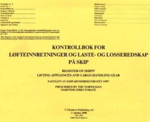 Kontrollbok for løfteinnretninger og laste- og losseredskap på skip = Register of ships' lifting appliances and cargo handling gear