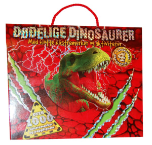 Dødelige dinosaurer. 4 aktivitetshefter. Klistemerker. Emballert i eske med hanke