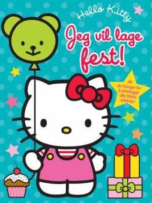 Hello Kitty. Jeg vil lage fest! 1 planleggingsbok. 1 scrapbok. 1 ark med klistermerker. 5 invitasjoner med konvolutter