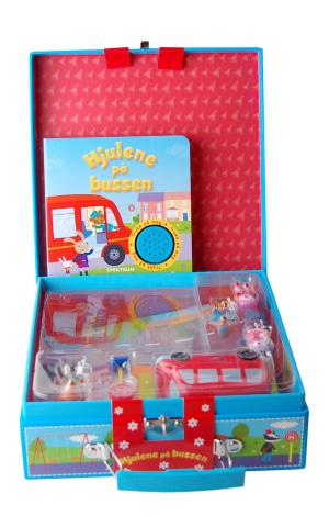 Hjulene på bussen. 1 bok med lydeffekter. 1 to-sidig lekematte. 6 leker