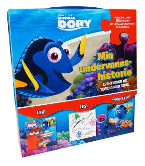 Oppdrag Dory. Min undervannshistorie. Eventyrbok og tosidig puslespill i eske med hanke.