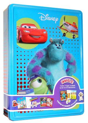 Monsteruniversitetet. Disney tinnboks. 3 bøker, 4 tusjer, 1 plakat og 50 klistremerker
