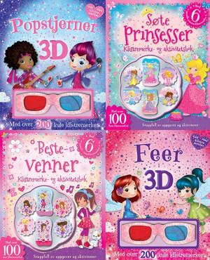 3D aktivitetspakke med klistremerker (4 titler: Bestevenner, popstjerner, feer og prinsesser)