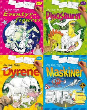 Jeg kan tegne alt sammen. 4 titler: Dyr, maskiner, dinosaurer og eventyrskikkelser